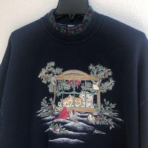 B Hamer Morning Sun 90's Christmas Cat Blue Sweatshirt XL